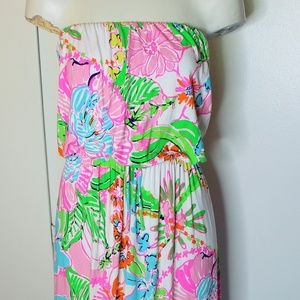 Lily Pulitzer Strapless Floral Knit Sun Dress M